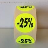 Etiket fluor geel 27mm -25%, 500/rol