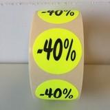 Etiket fluor geel 27mm -40%, 500/rol