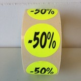 Etiket fluor geel 27mm -50%, 500/rol