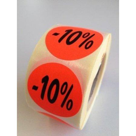 Etiket fluor rood 35mm -10%, 500/rol