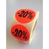 Etiket fluor rood 35mm -20%, 500/rol