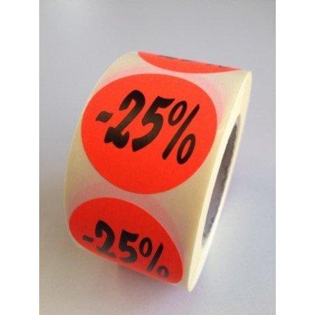 Etiket fluor rood 35mm -25%, 500/rol