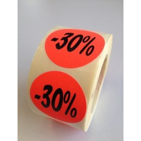 Etiket fluor rood 35mm -30%, 500/rol