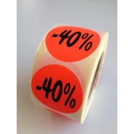 Etiket fluor rood 35mm -40%, 500/rol