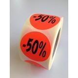 Etiket fluor rood 35mm -50%, 500/rol