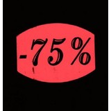 Etiket fluor rood 33x25mm -75% 500/rol
