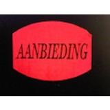 Etiket fluor rood 33x25mm - AANBIEDING