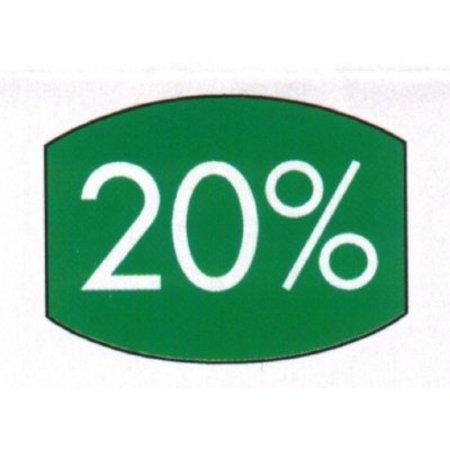 Etiket groen 33x25mm 20 procent 500/rol