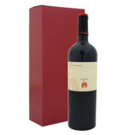 50 x Wijndozen 16 x 8 x 36 cm. - 2 flessen, Buitenzijde bordeaux rood