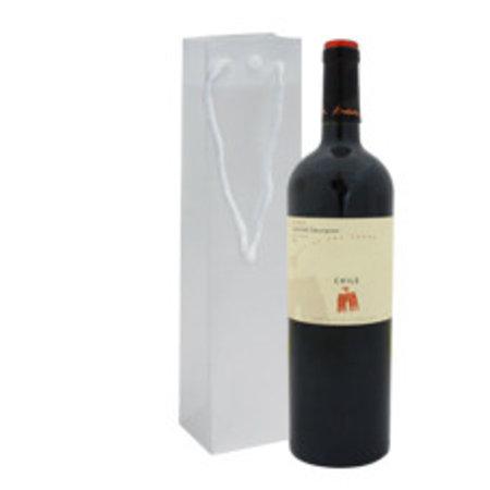 100 x Wijnflessen tas plastic 12 + 10 x 36 cm., Semi transparant