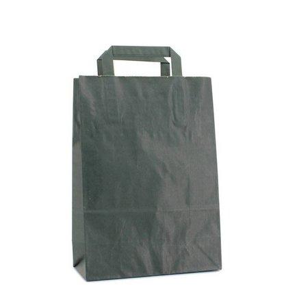 250 x Papieren tas platte lus 22 + 10 x 31 cm.,  donker groen