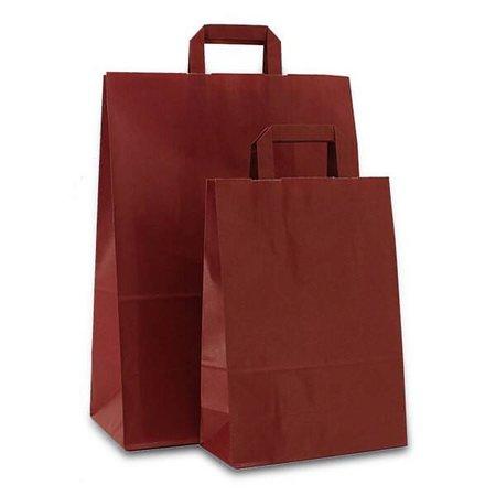 250 x Papieren tas platte lus 22 + 10 x 31 cm., bordeaux rood