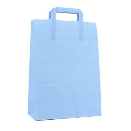 250 x Papieren tas platte lus 22 + 10 x 31 cm.,  hemelsblauw
