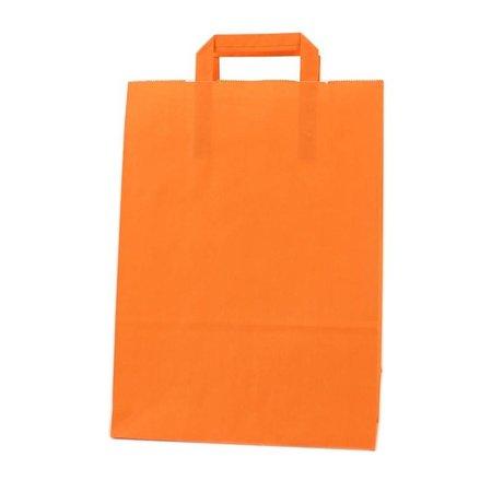 250 x Papieren tas platte lus 22 + 10 x 31 cm.,  oranje