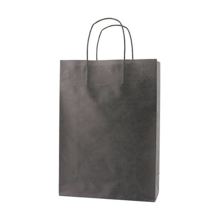 250 x Papieren tas gedraaid koord 14 + 7 x 19 cm..,  zwart