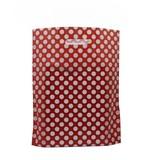 1000 x Plastic tas 25 x 35 + 2 x 4 cm., Stip dessin, rood/wit