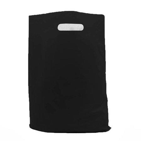 500 x Plastic tas met uitgestanste handgreep 37 x 45 + 2 x 5 cm., Zwart