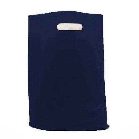 500 x Plastic tas met uitgestanste handgreep 37 x 45 + 2 x 5 cm., Donkerblauw