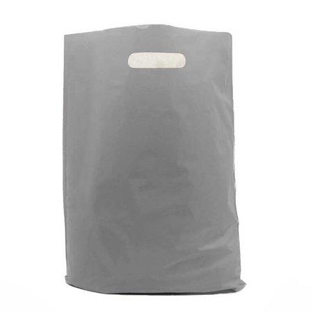 500 x Plastic tas met uitgestanste handgreep 37 x 45 + 2 x 5 cm., Zilver