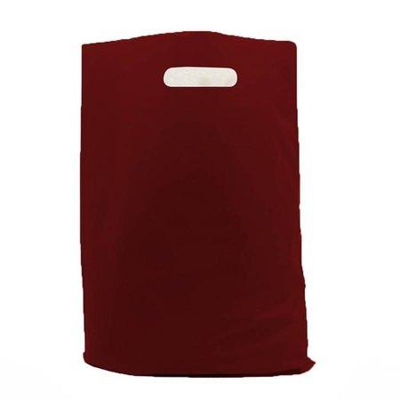 500 x Plastic tas met uitgestanste handgreep 37 x 45 + 2 x 5 cm., Bordeaux rood