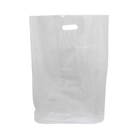 500 x Plastic tas met uitgestanste handgreep 37 x 44 + 2 x 4 cm., Transparant