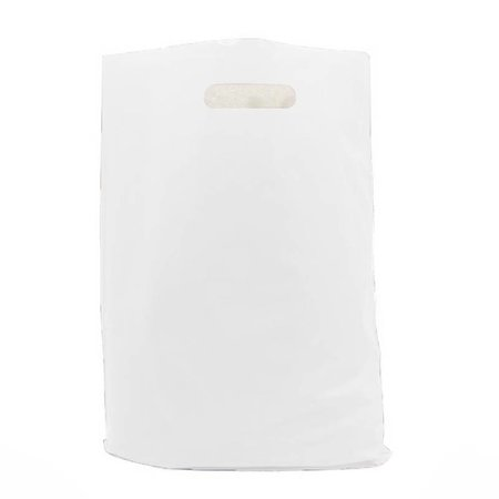 500 x Plastic tas met uitgestanste handgreep 45 x 51 + 2 x 4 cm., Wit