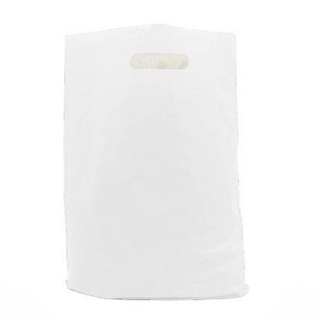 250 x Plastic tas met uitgestanste handgreep 60 x 51 + 2 x 4 cm., Wit