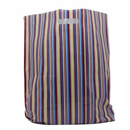 500 x Plastic tas met uitgestanste handgreep 45 x 50 + 2 x 4 cm., Streep dessin