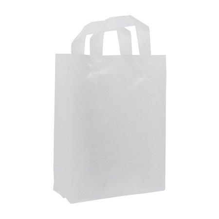 250 x Plastic tas met aangesealde lus 32 + 15 x 43 cm., Semi transparant