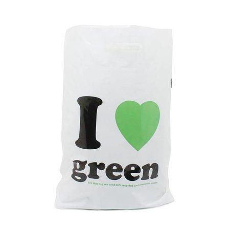 500 x Plastic tas met uitgestanste handgreep 45 x 50 + 2 x 5 cm., I love green dessin, zwart/groen