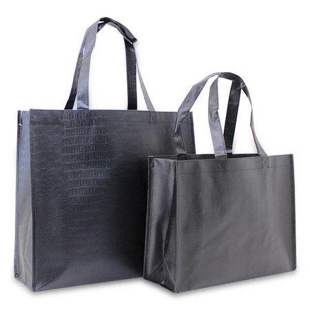 100 x Croco shoppers 32 + 12 x 25 cm., Zwart gemetaliseerd