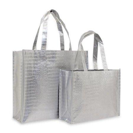 100 x Croco shoppers 32 + 12 x 25 cm., Zilver gemetaliseerd