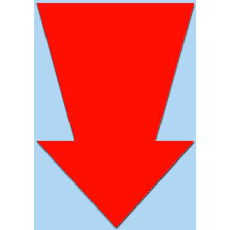 Fluor pijl 15x10 cm fluor rood  50 stuks
