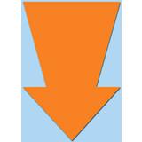 Fluor pijl 15x10 cm fluor oranje  50 stuks