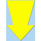 Fluor pijl 15x10 cm fluor geel  50 stuks