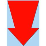 Fluor pijl 22x15 cm fluor rood  50 stuks