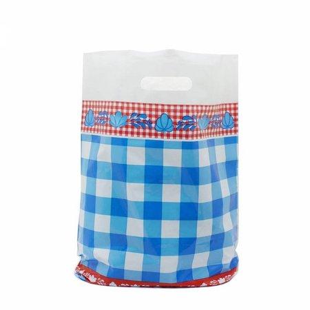 1000 x Plastic tas met uitgestanste handgreep 25 x 35 + 2 x 4 cm., Blauw/Rood Dessin: boerenbont