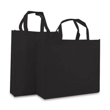 100 x Non woven shopper 31 + 10 x 41 cm., Zwart