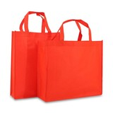 100 x Non woven shopper 31 + 10 x 41 cm., Rood
