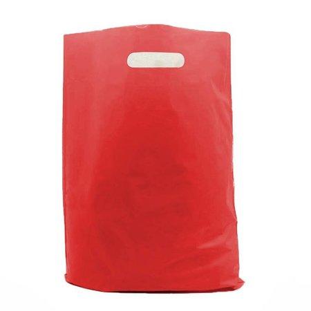 400 x Plastic tas met uitgestanste handgreep 35 x 44 + 2 x 4 cm., Rood