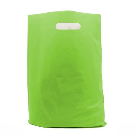 400 x Plastic tas met uitgestanste handgreep 35 x 44 + 2 x 4 cm., Groen