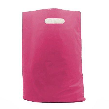 400 x Plastic tas met uitgestanste handgreep 35 x 44 + 2 x 4 cm., Magenta