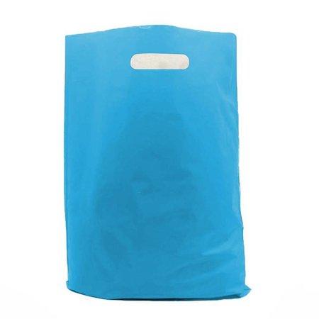400 x Plastic tas met uitgestanste handgreep 35 x 44 + 2 x 4 cm., Hemelsblauw