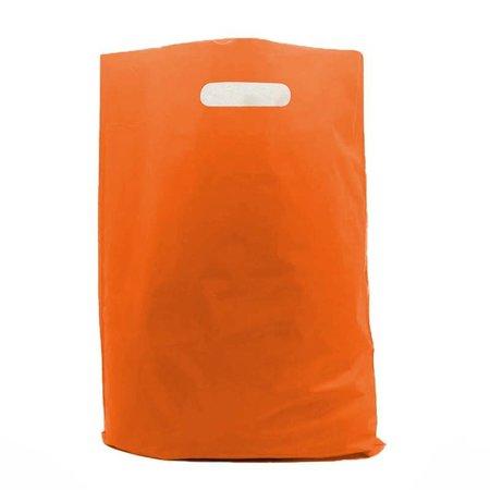 400 x Plastic tas met uitgestanste handgreep 35 x 44 + 2 x 4 cm., Oranje
