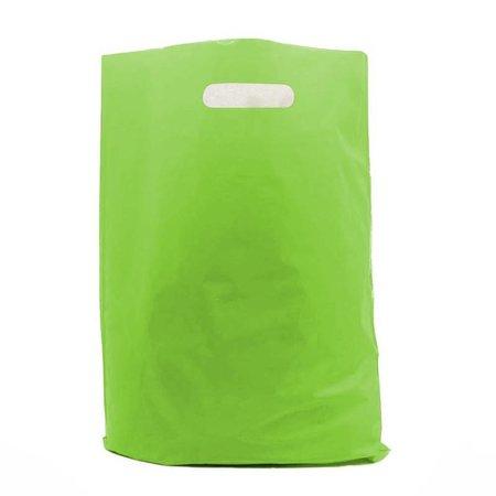 400 x Plastic tas met uitgestanste handgreep 45 x 51 + 2 x 4 cm., Groen