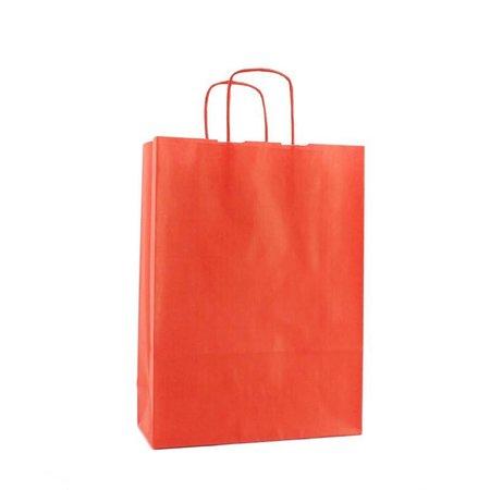 250 x Papieren tas gedraaid koord 18 + 8 x 24 cm., rood