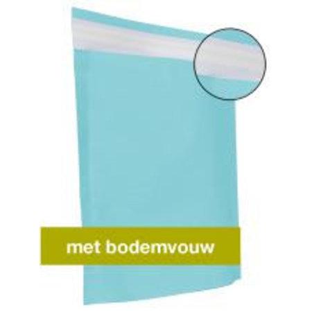 250 x Papieren verzendzakken 30 x 36 + 8 cm., aqua blauw