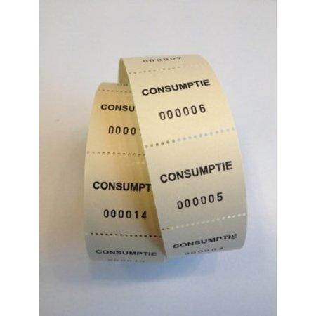 Consumptiebonnen op rol geel 500/rol