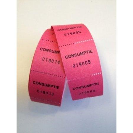 Consumptiebonnen op rol rose/rood 500/rol