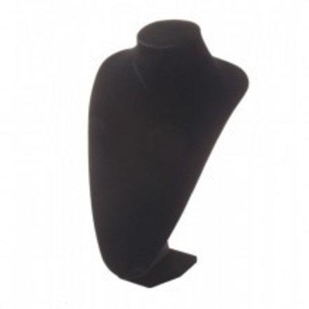 Collierhals zwart kunstleer, 25 cm. hoog.